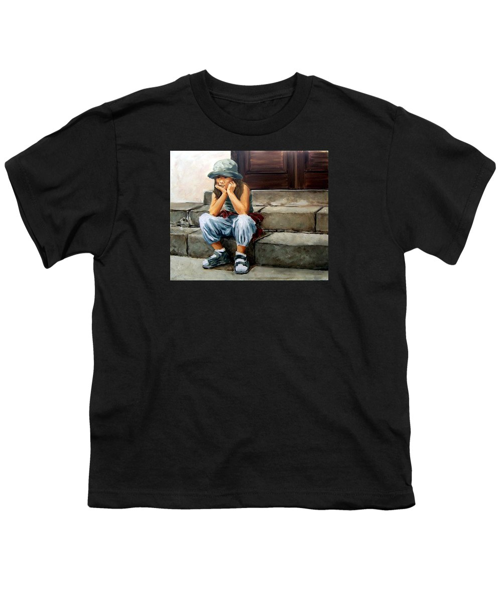 Figurative Little Girl Portrait Realism Child Kid Youth T-Shirt featuring the painting Bored by Natalia Tejera