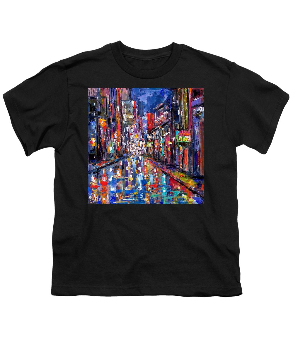 New Orleans Youth T-Shirt featuring the painting Bourbon Street by Debra Hurd