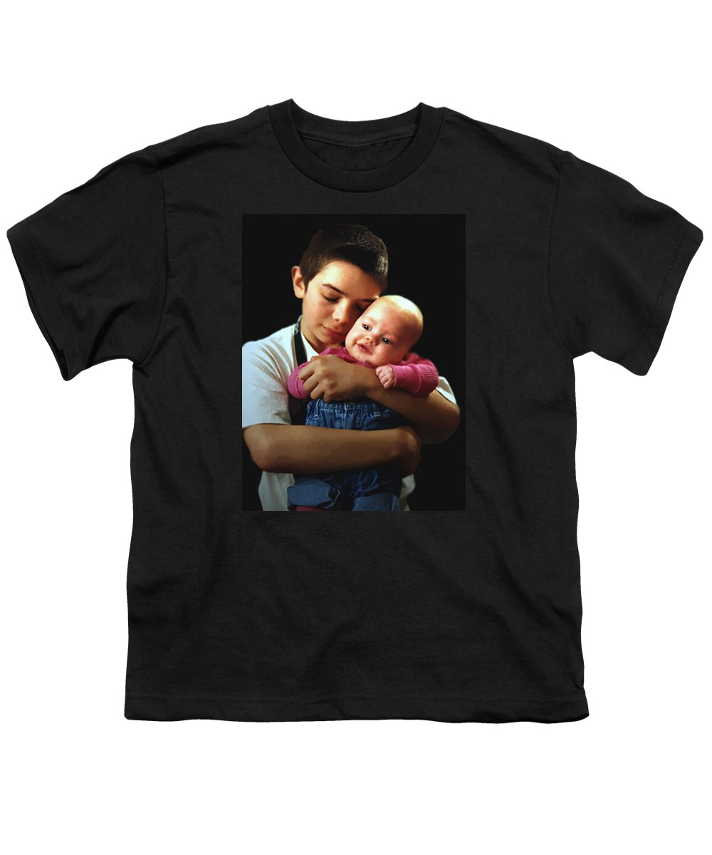 Children Youth T-Shirt featuring the photograph Boy With Bald-headed Baby by RC deWinter