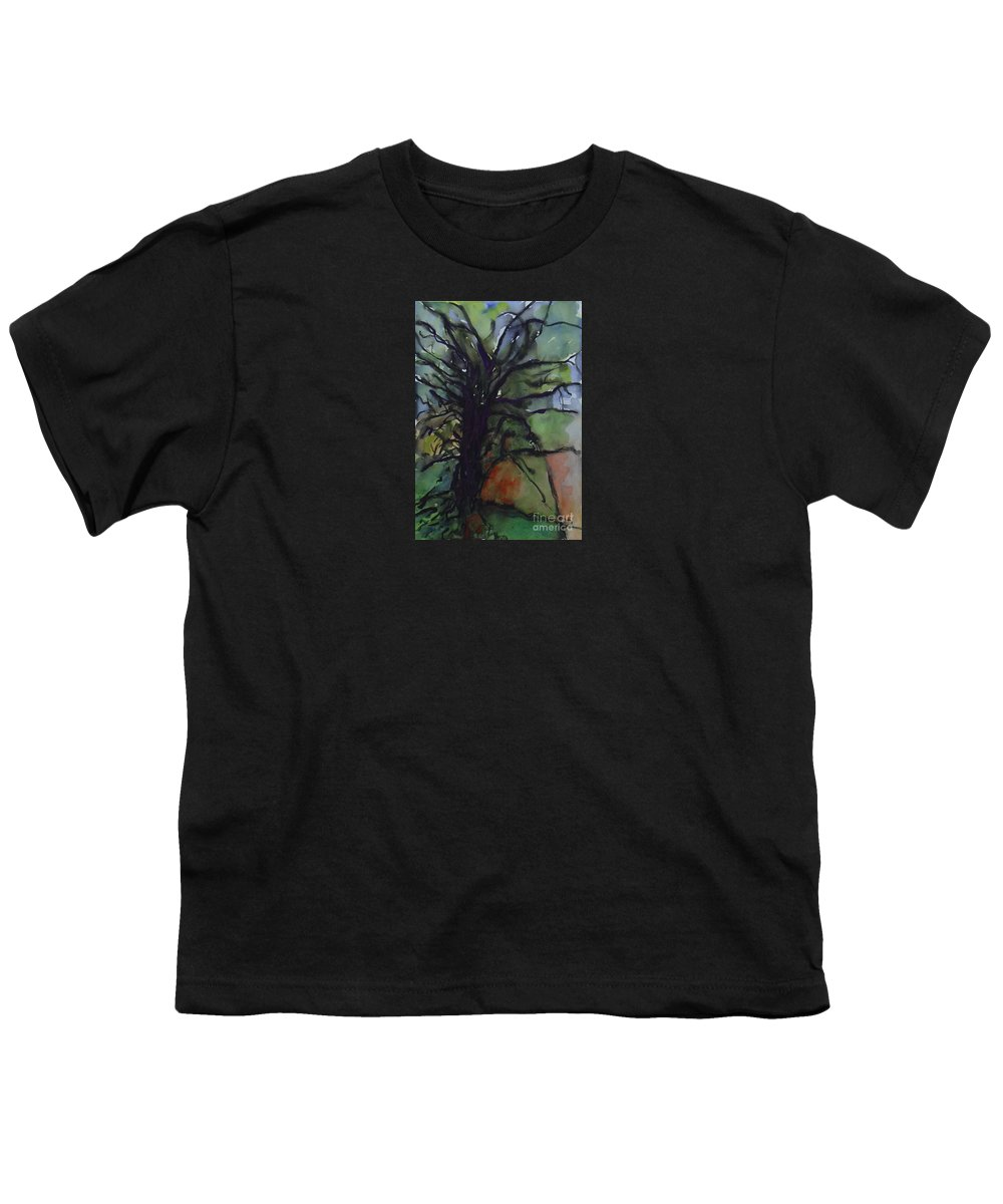 Tree Landscape Abstract Watercolor Original Blue Green Youth T-Shirt featuring the painting Branching by Leila Atkinson
