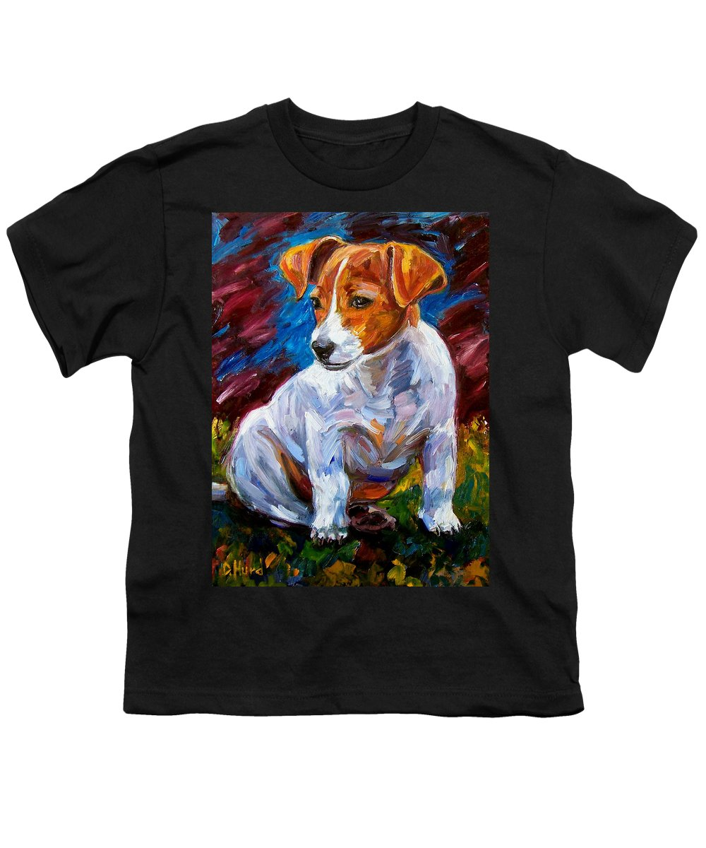 Dog Art Youth T-Shirt featuring the painting Break Time by Debra Hurd