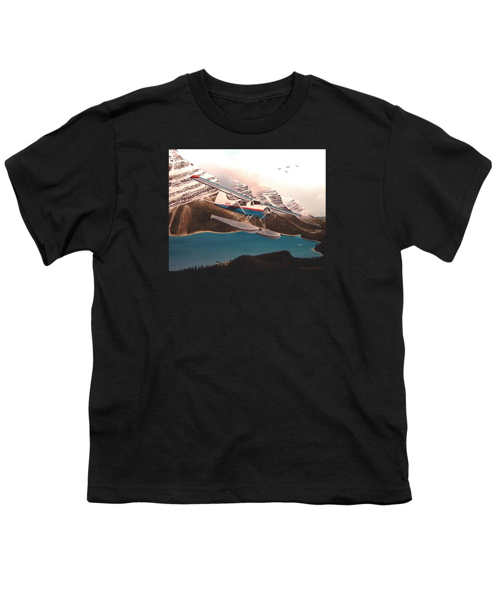 Aviation Youth T-Shirt featuring the painting Bringing Home The Groceries by Marc Stewart