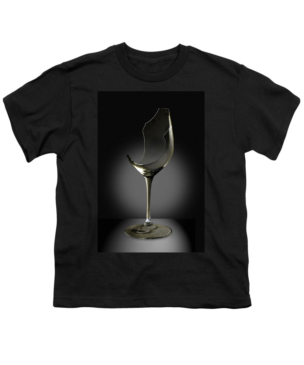 Glassware Youth T-Shirt featuring the photograph Broken Wine Glass by Yuri Lev
