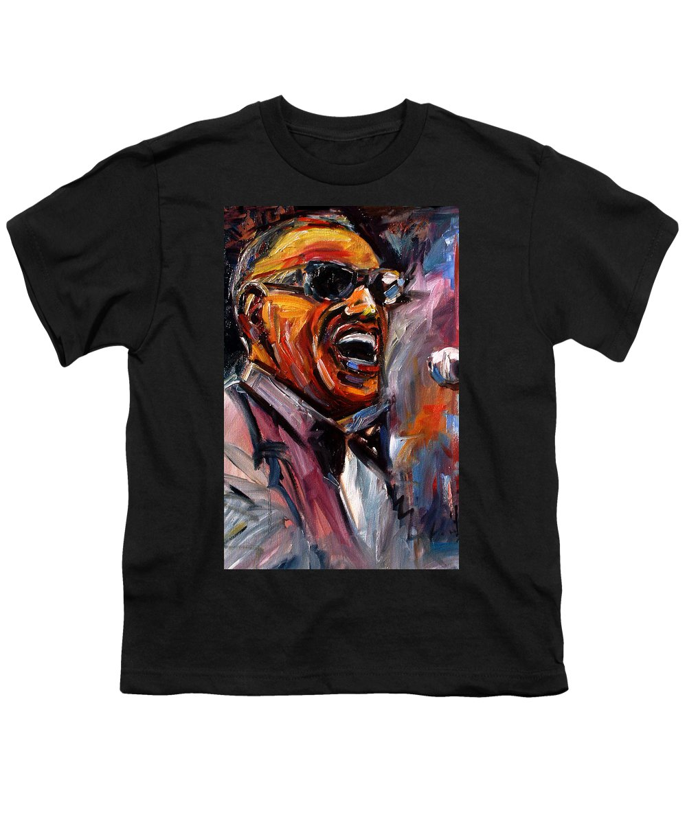 Jazz Art Youth T-Shirt featuring the painting Brother Ray by Debra Hurd