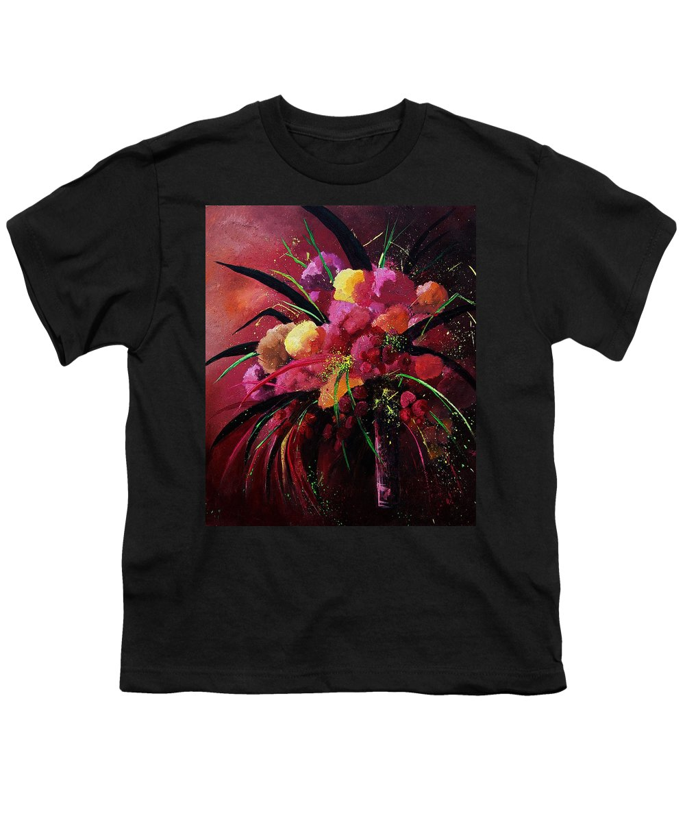 Flowers Youth T-Shirt featuring the painting Bunch Of Red Flowers by Pol Ledent