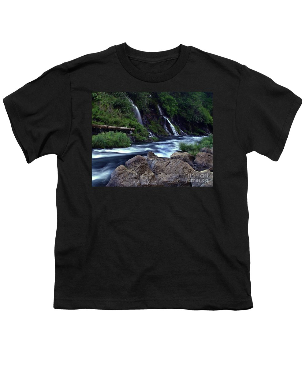 River Youth T-Shirt featuring the photograph Burney Falls Creek by Peter Piatt