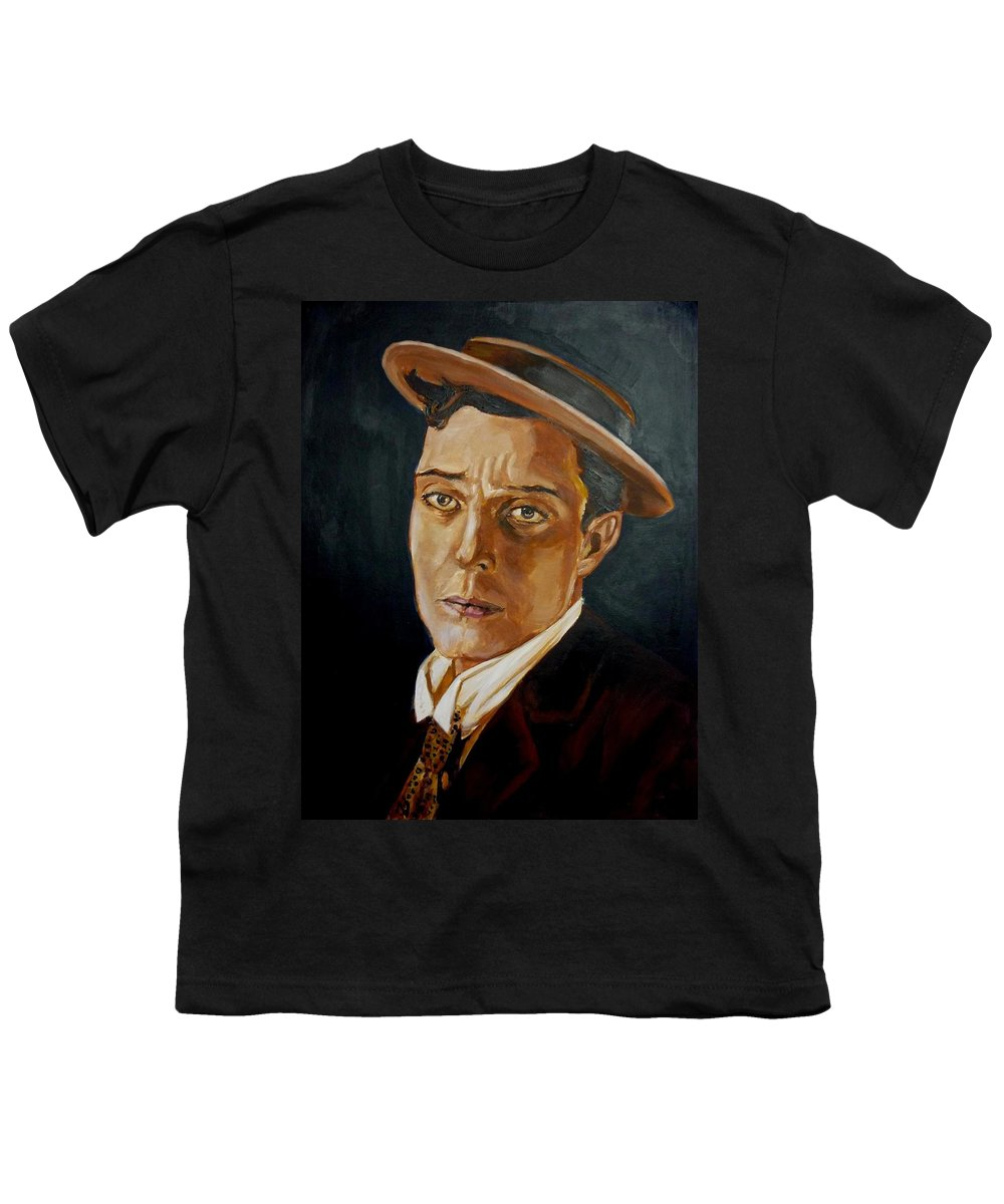 Comedy Youth T-Shirt featuring the painting Buster Keaton Tribute by Bryan Bustard