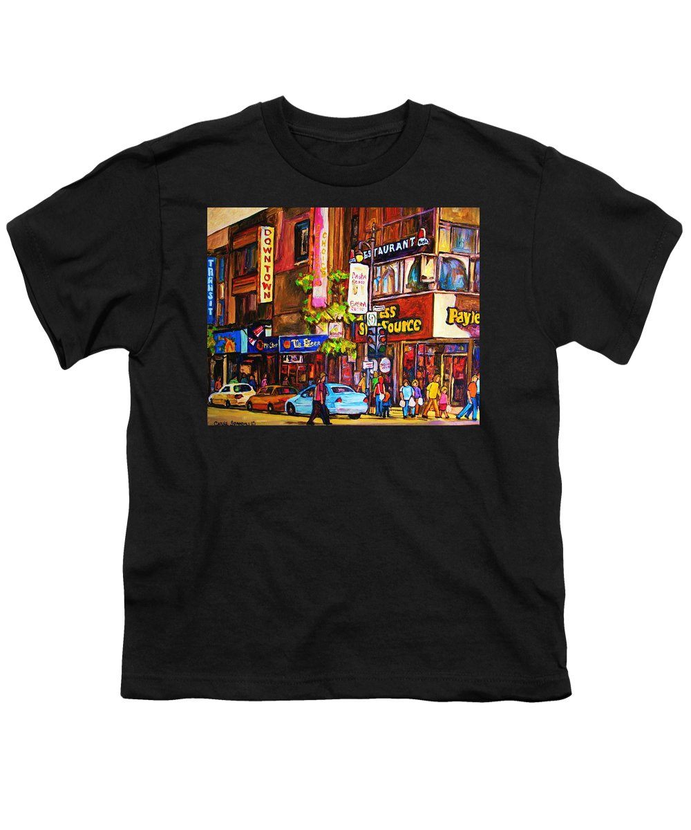 Cityscape Youth T-Shirt featuring the painting Busy Downtown Street by Carole Spandau