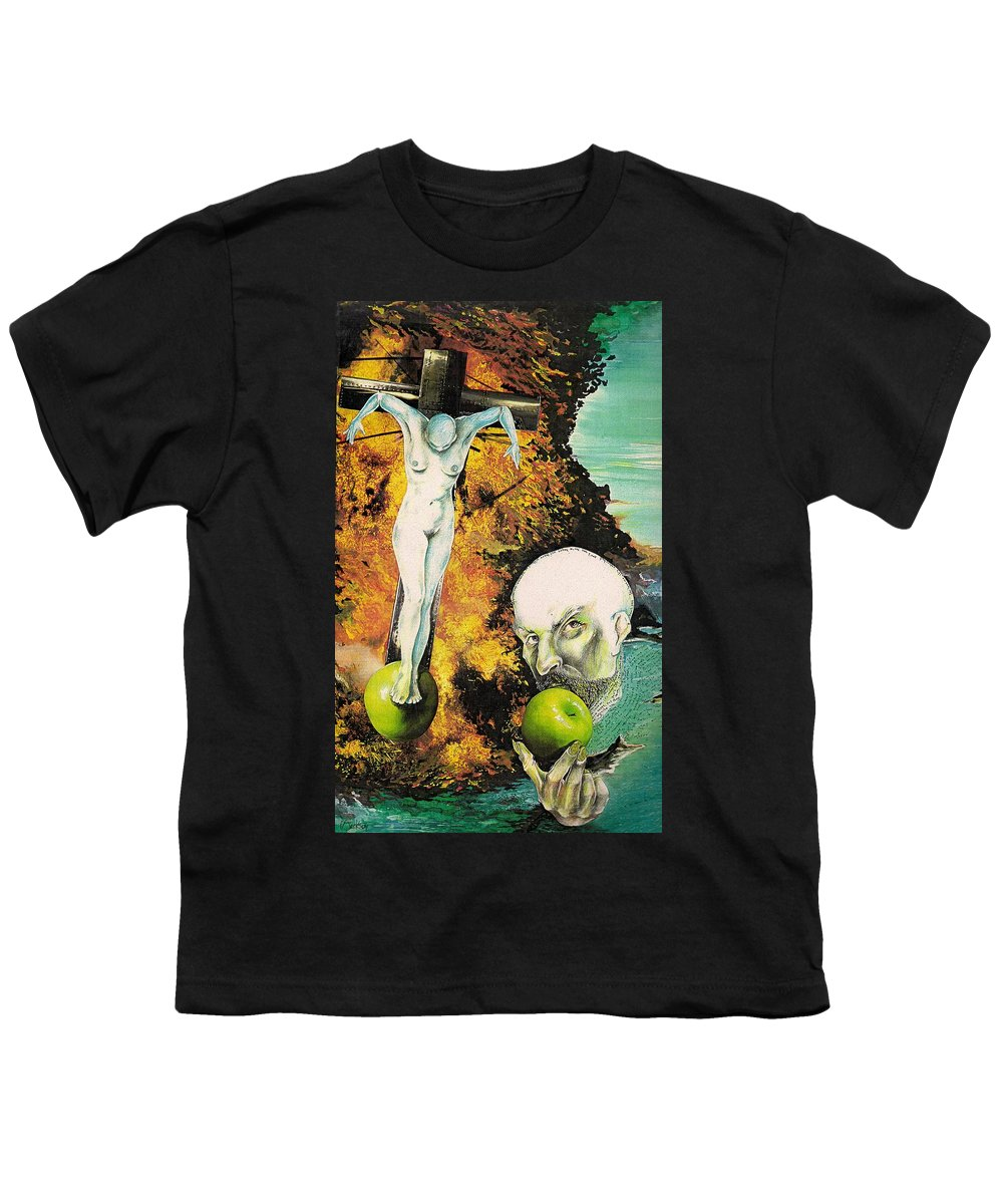Lust Temptation Crucifix Hell Inferno Heaven Water Woman Sex Lust Apple Fire Youth T-Shirt featuring the mixed media But For Lust... by Veronica Jackson
