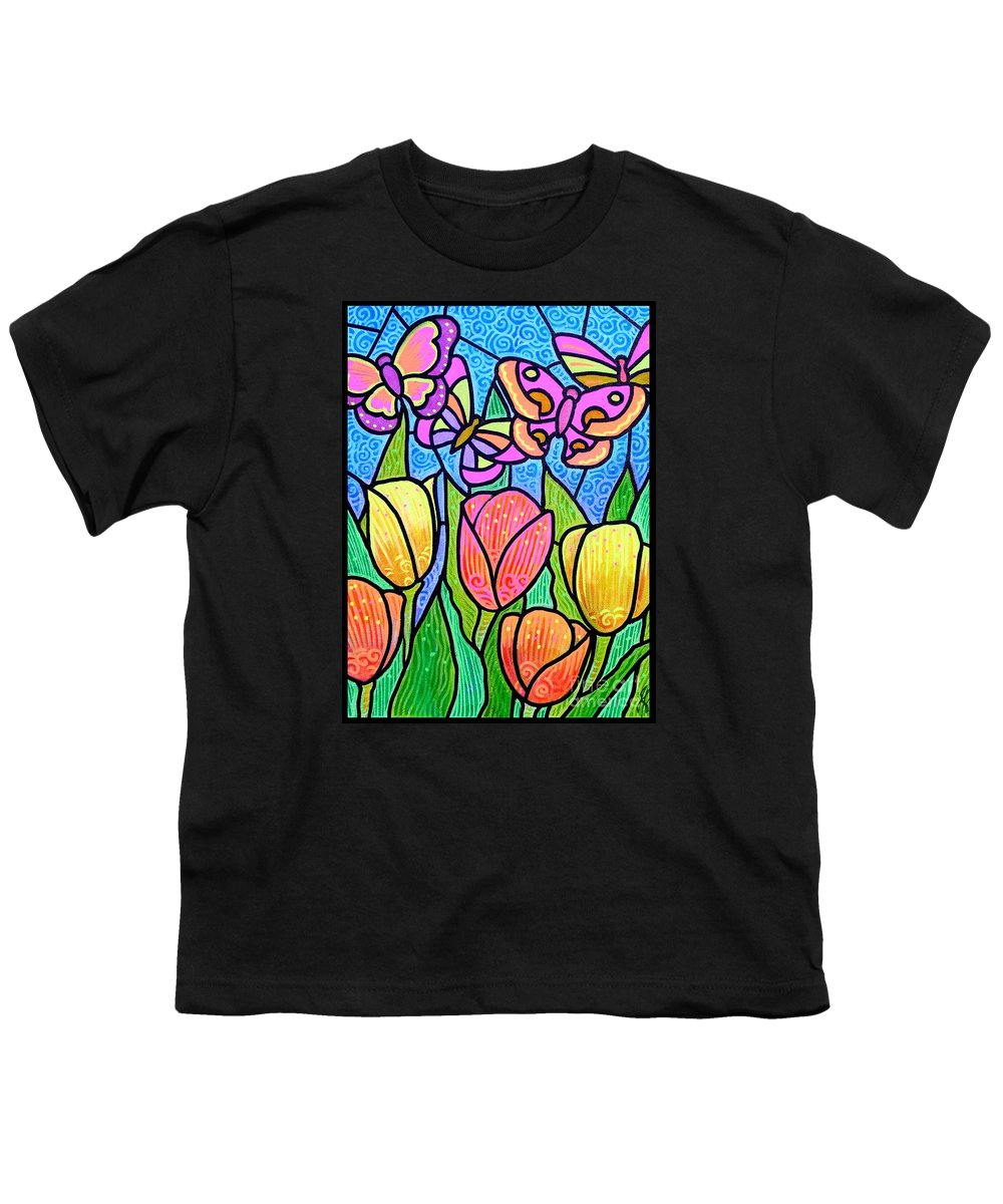 Butterflies Youth T-Shirt featuring the painting Butterflies In The Tulip Garden by Jim Harris