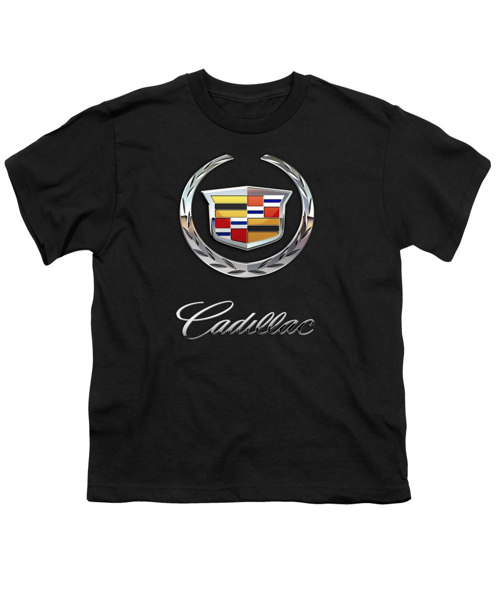 'wheels Of Fortune' By Serge Averbukh Youth T-Shirt featuring the photograph Cadillac - 3 D Badge On Black by Serge Averbukh