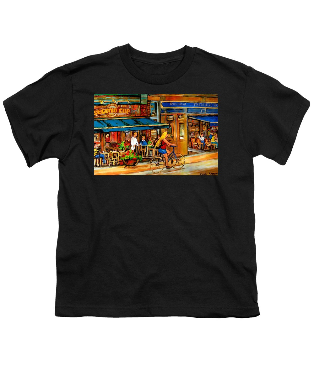 Cafes Youth T-Shirt featuring the painting Cafes With Blue Awnings by Carole Spandau