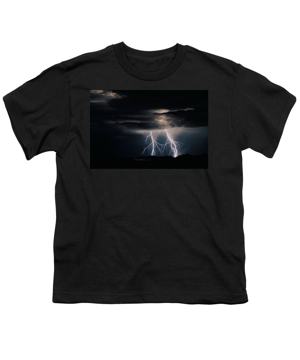 Arizona Youth T-Shirt featuring the photograph Carefree Lightning by Cathy Franklin
