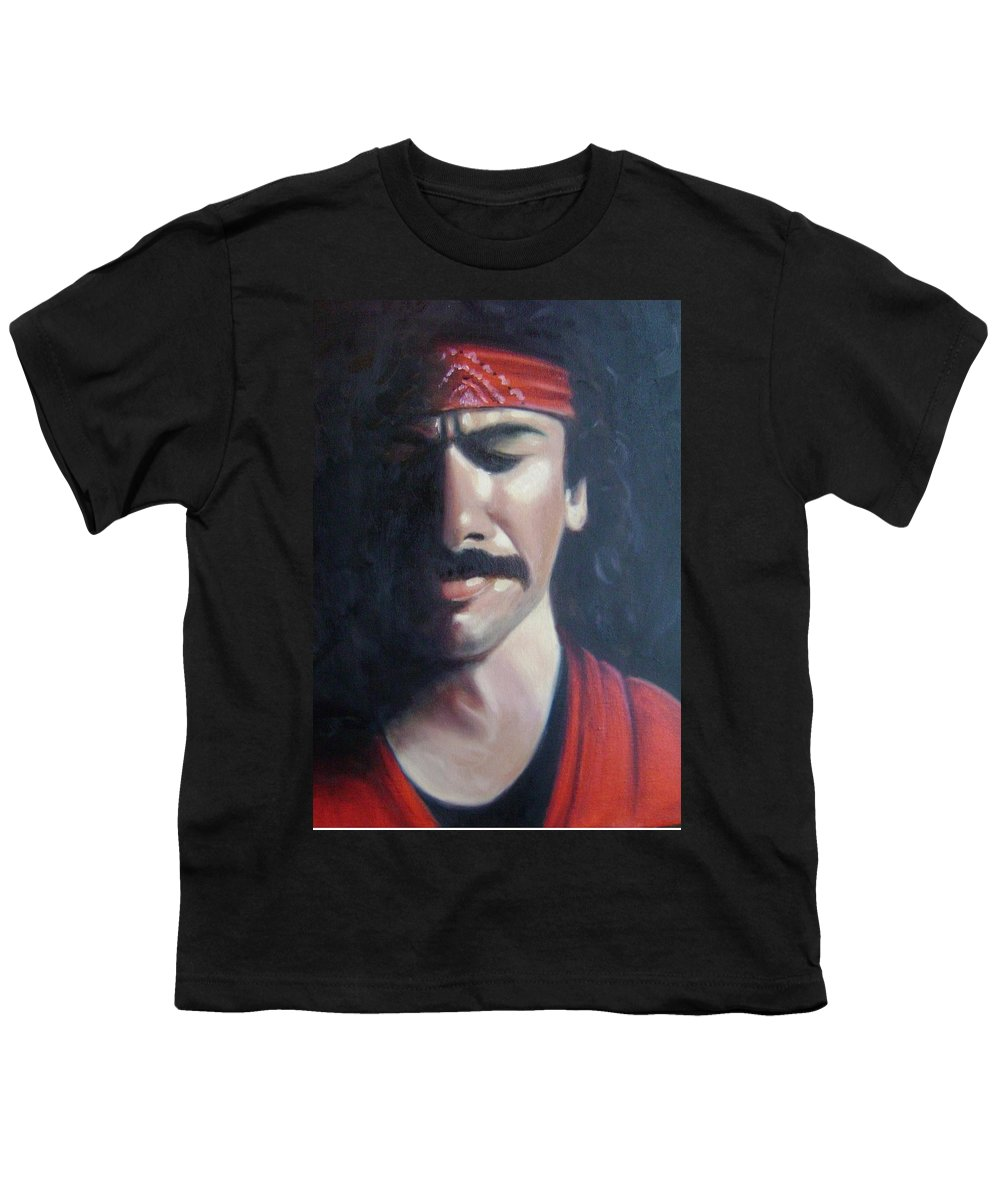 Santana Youth T-Shirt featuring the painting Carlos Santana by Toni Berry
