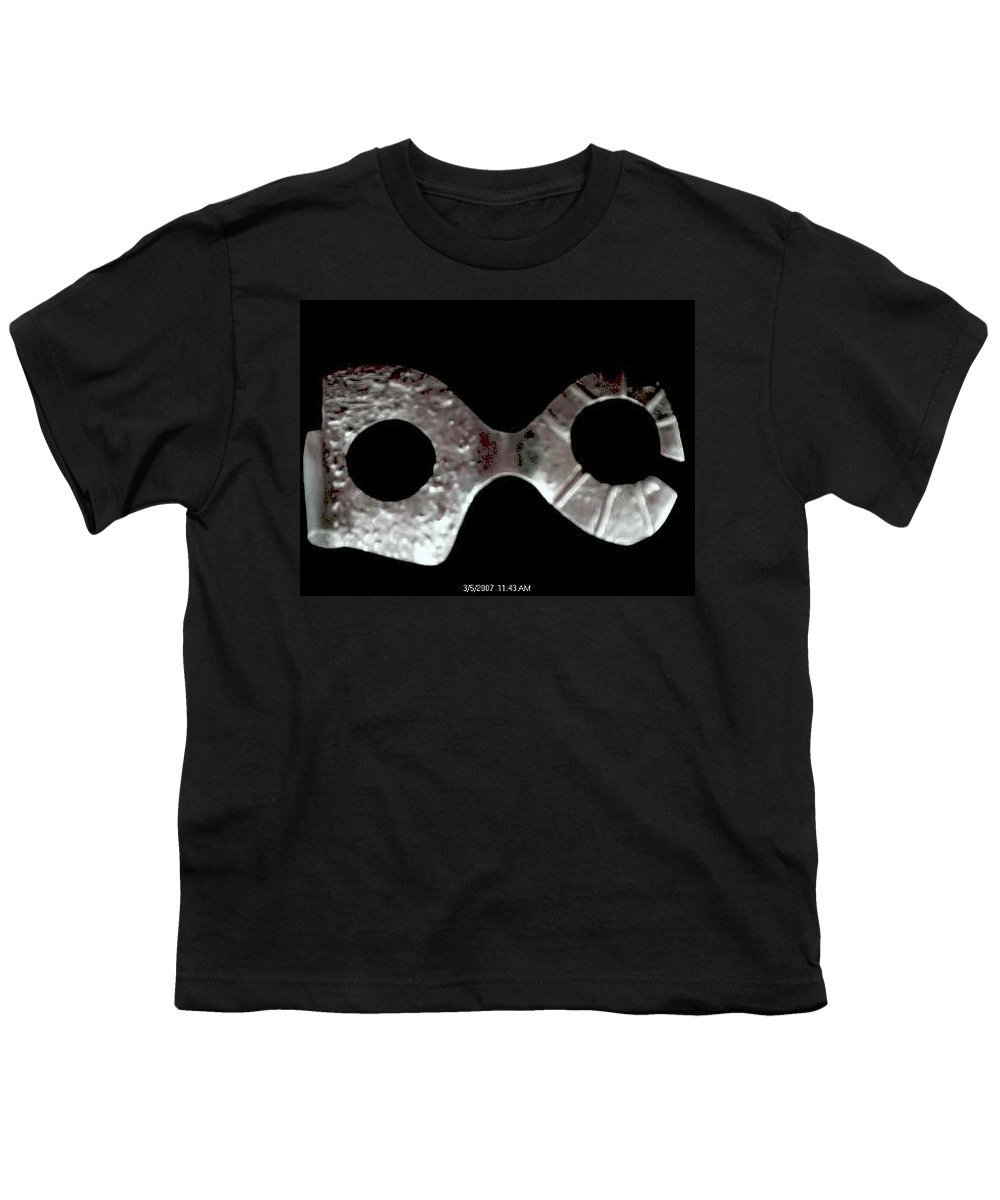 Carnival Type Face Mask For Wearing In .999 Fine Silver Youth T-Shirt featuring the sculpture Carnival 002 by Robert aka Bobby Ray Howle