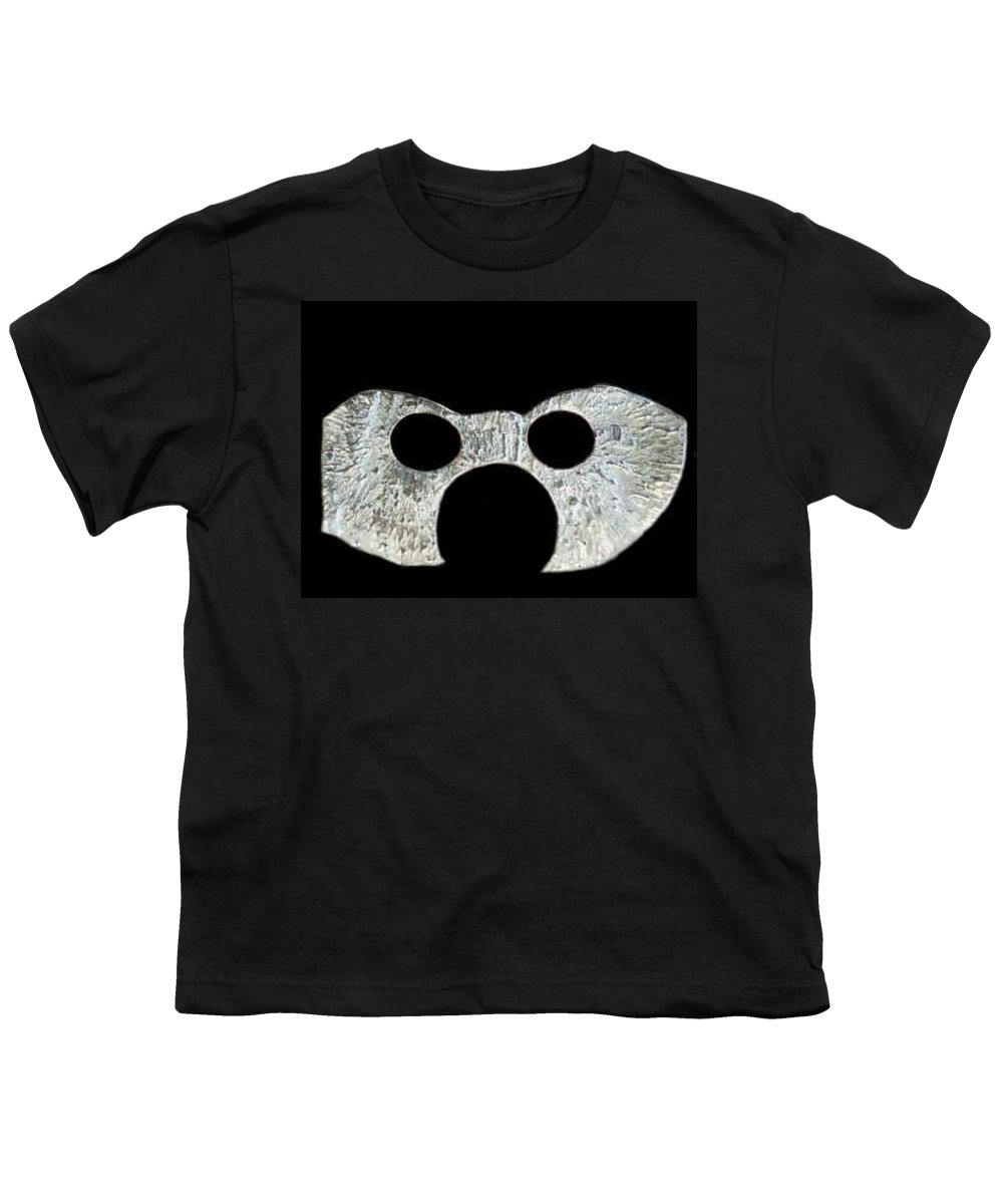 A Wearable Mardi Gras Carnival Or Costume Mask With A Leather Covered Holding Stick Youth T-Shirt featuring the sculpture Carnival Series by Robert aka Bobby Ray Howle