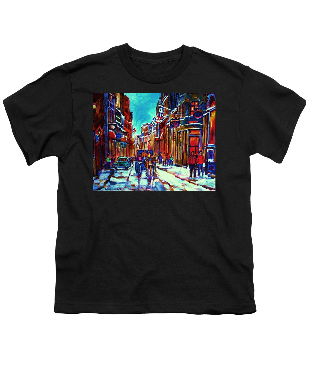 Old Montreal Youth T-Shirt featuring the painting Carriage Ride Through The Old City by Carole Spandau