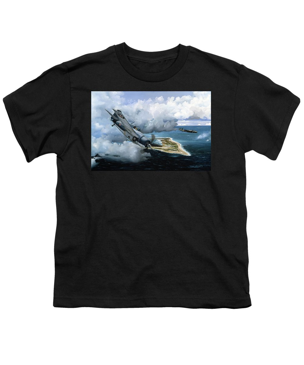Military Youth T-Shirt featuring the painting Cat And Mouse Over Wake by Marc Stewart