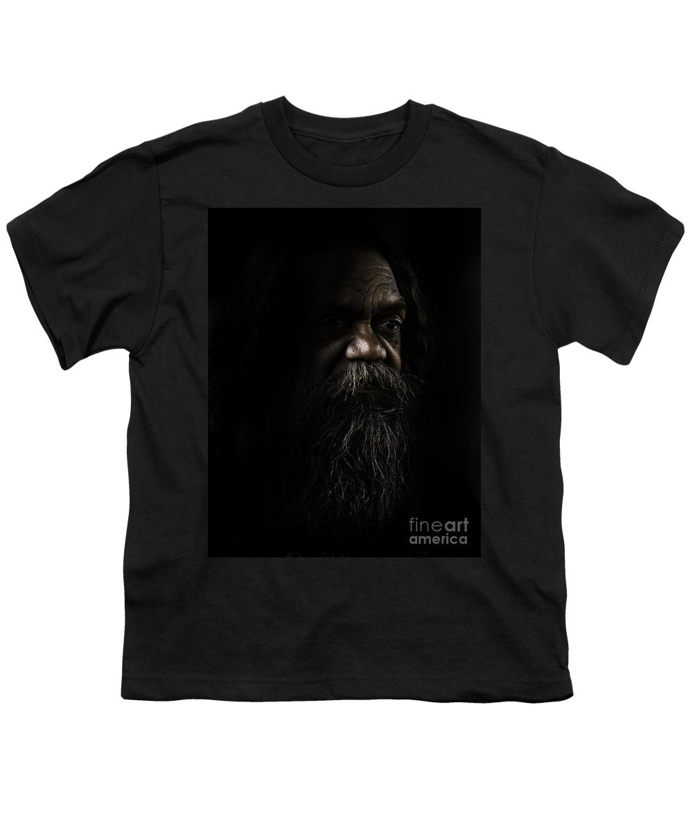 Fullblood Aborigine Youth T-Shirt featuring the photograph Cedric In Shadows by Sheila Smart Fine Art Photography