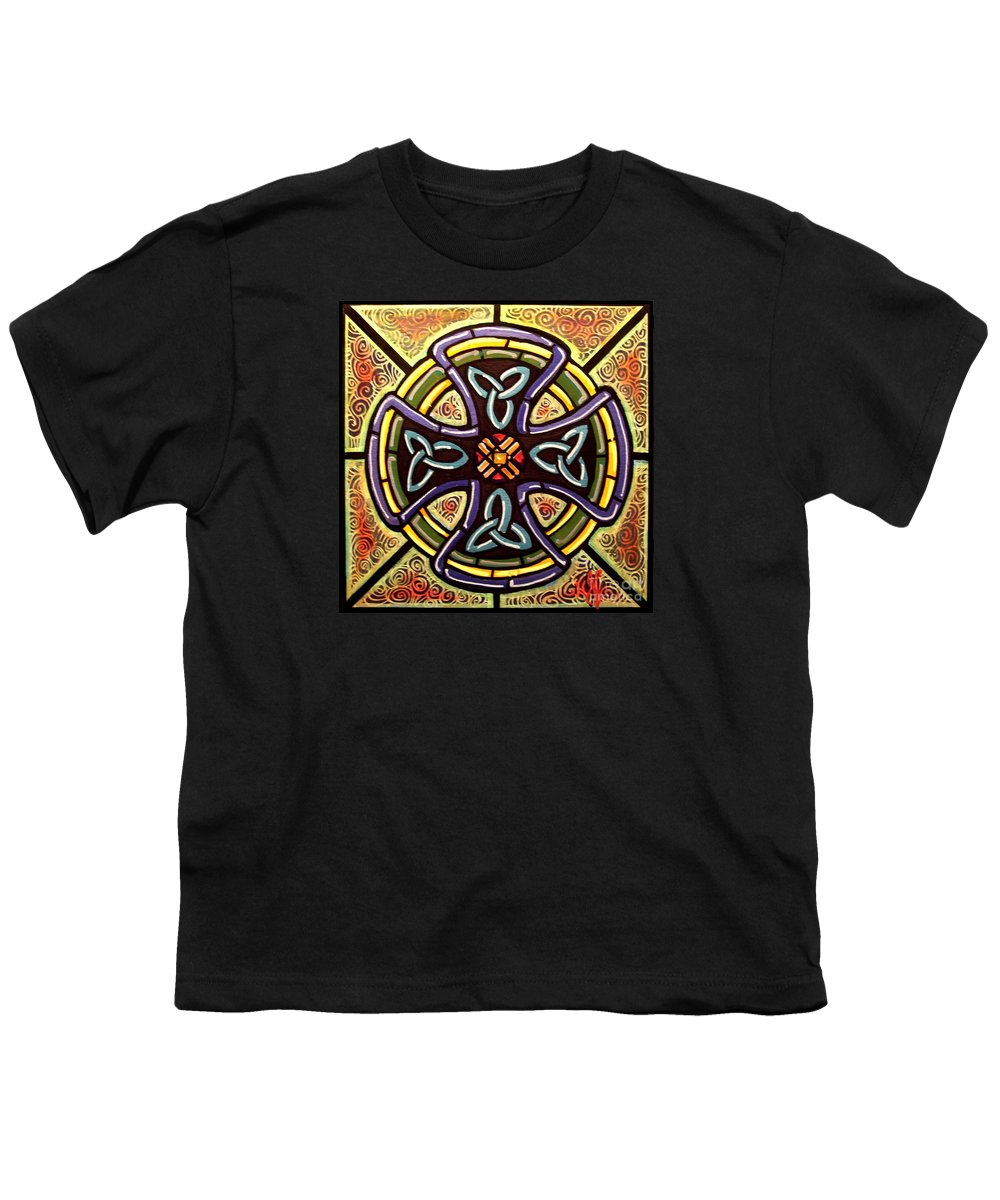 Celtic Youth T-Shirt featuring the painting Celtic Cross 2 by Jim Harris