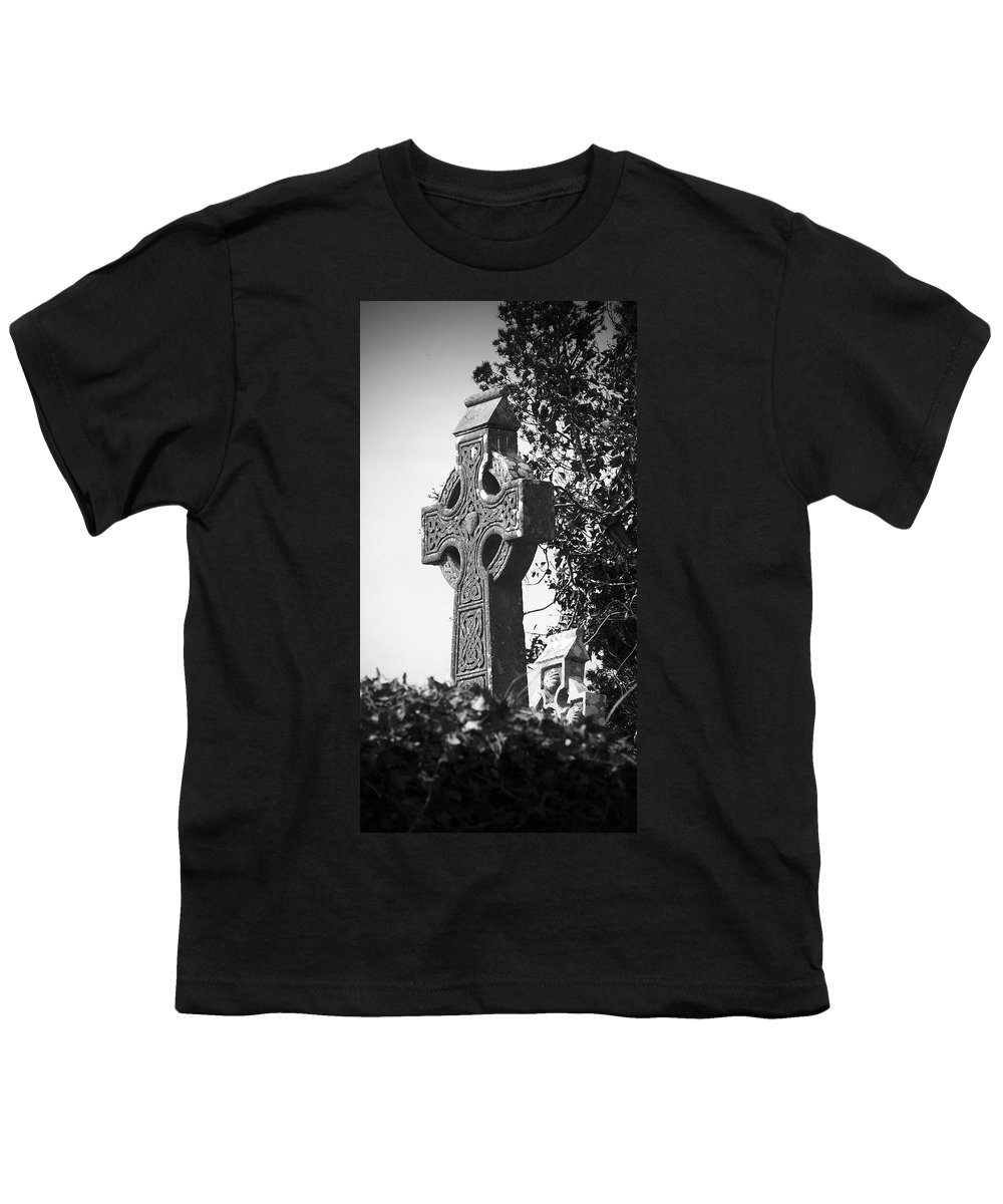 Celtic Youth T-Shirt featuring the photograph Celtic Cross At Fuerty Cemetery Roscommon Ireland by Teresa Mucha