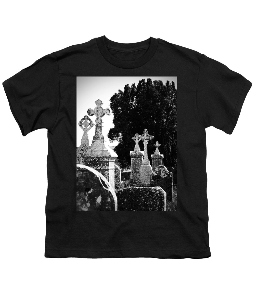 Celtic Youth T-Shirt featuring the photograph Celtic Crosses At Fuerty Cemetery Roscommon Ireland by Teresa Mucha