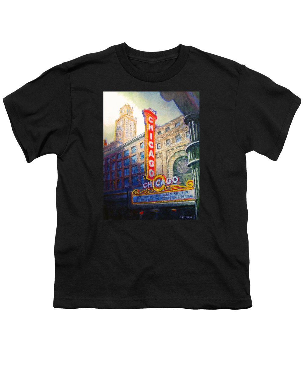 Chicago Youth T-Shirt featuring the painting Chicago Theater by Michael Durst