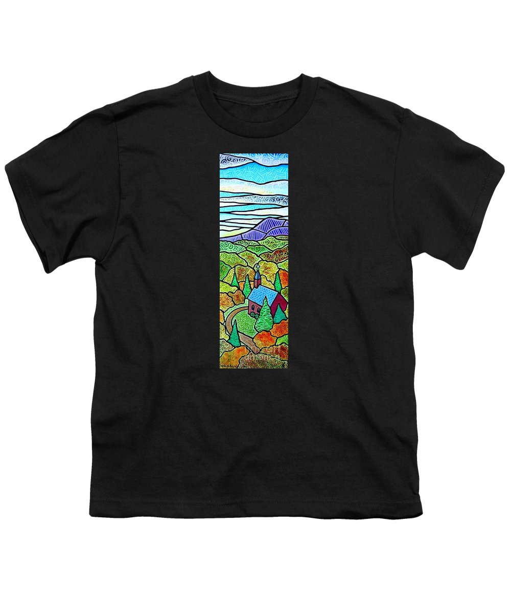 Church Youth T-Shirt featuring the painting Church In The Wildwood by Jim Harris