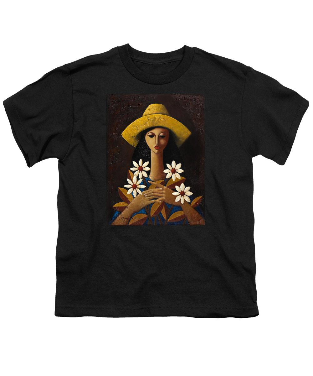Puerto Rico Youth T-Shirt featuring the painting Cinco Margaritas by Oscar Ortiz