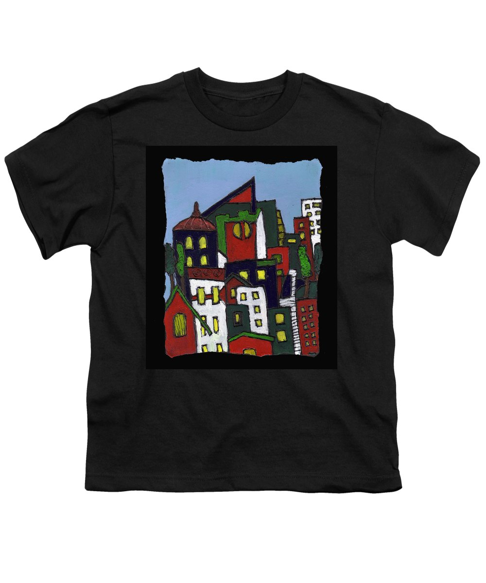 City Youth T-Shirt featuring the painting City At Christmas by Wayne Potrafka