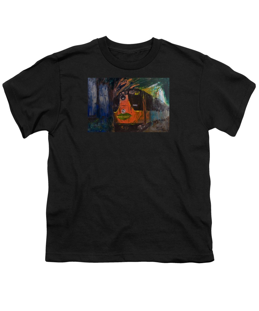 Train Youth T-Shirt featuring the painting City Of New Orleans by David McGhee