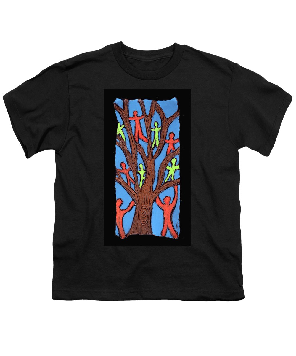 People Youth T-Shirt featuring the painting Climbing by Wayne Potrafka