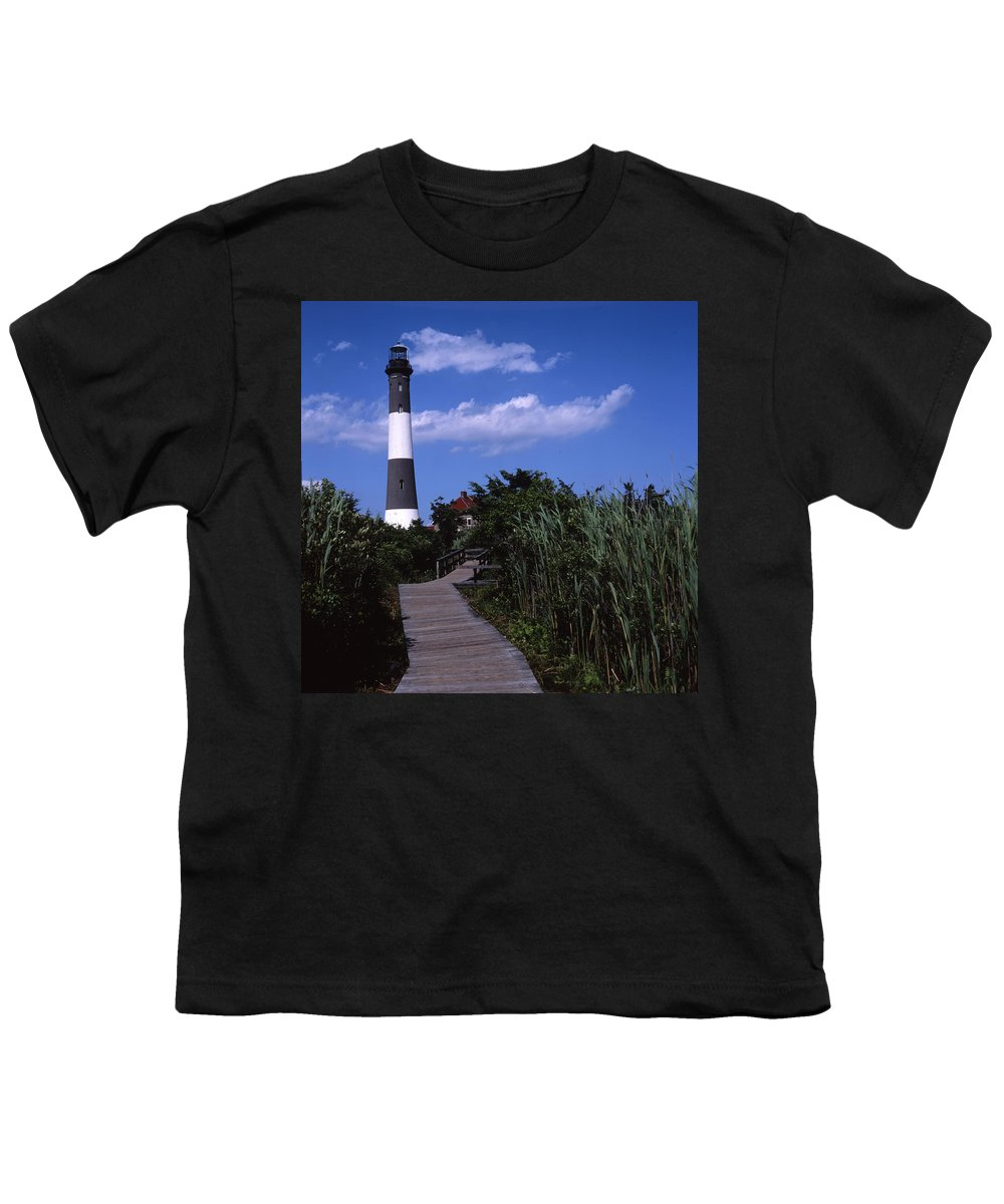 Landscape Lighthouse Fire Island Youth T-Shirt featuring the photograph Cnrf0702 by Henry Butz
