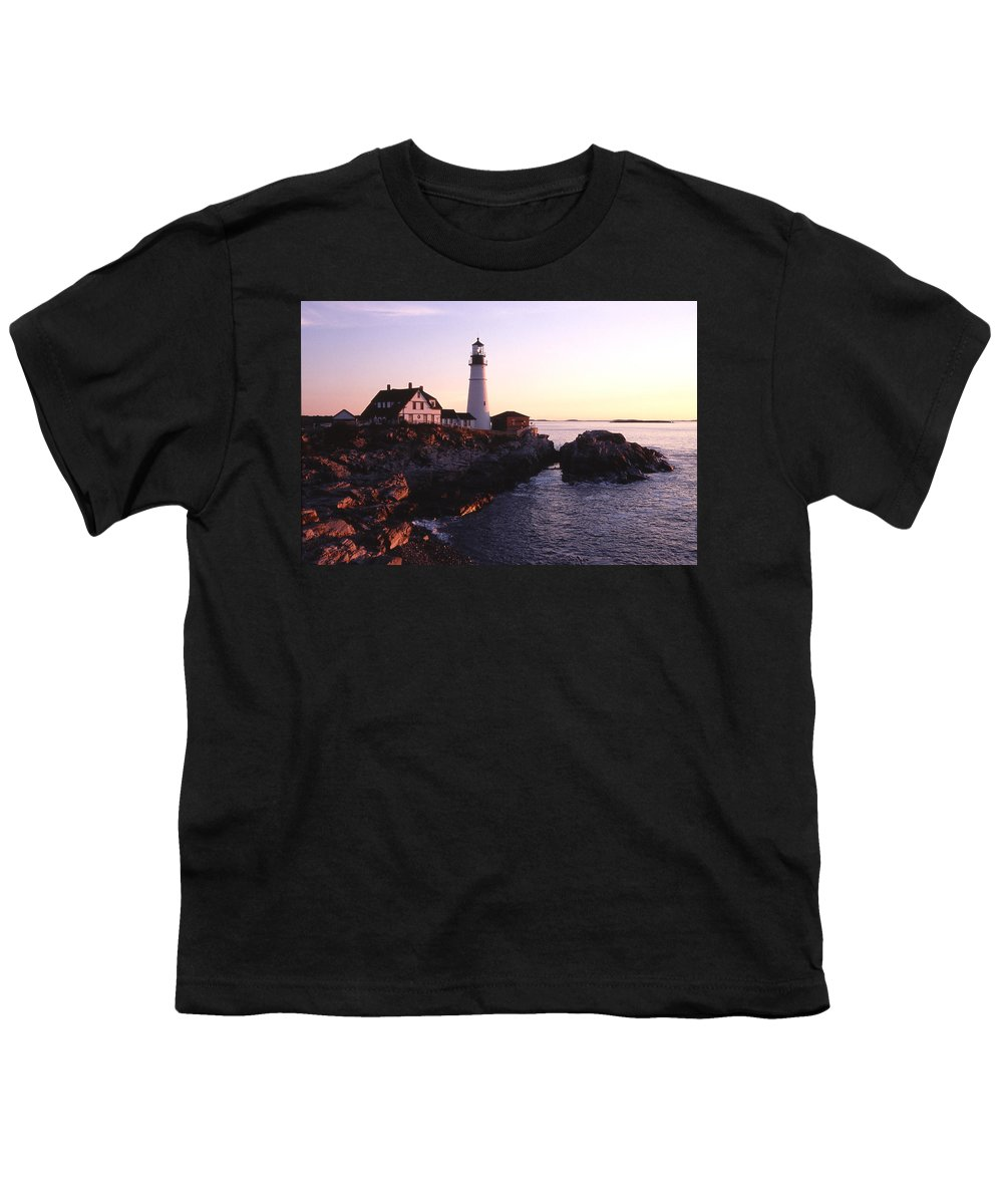 Landscape Lighthouse Nautical New England Portland Head Light Cape Elizabeth Youth T-Shirt featuring the photograph Cnrf0904 by Henry Butz