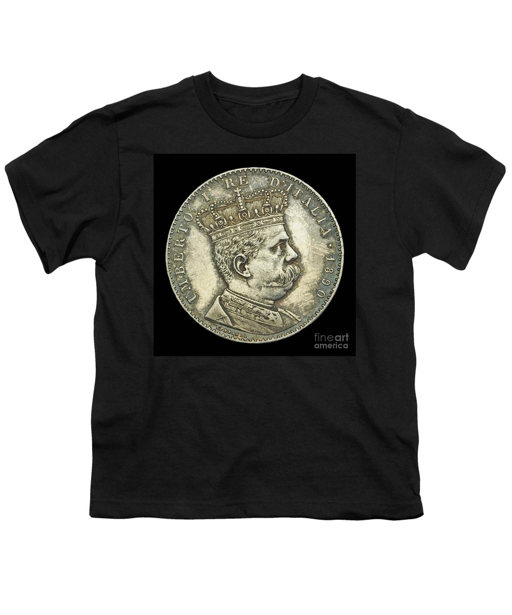 Currency Youth T-Shirt featuring the photograph Coin Italian King by Jost Houk