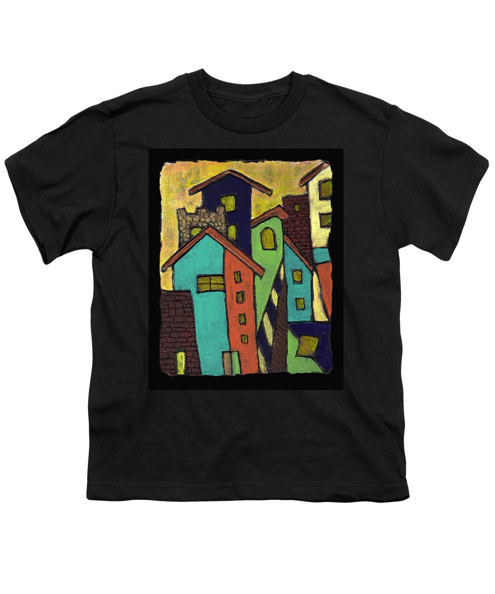 City Youth T-Shirt featuring the painting Colorful Neighborhood by Wayne Potrafka