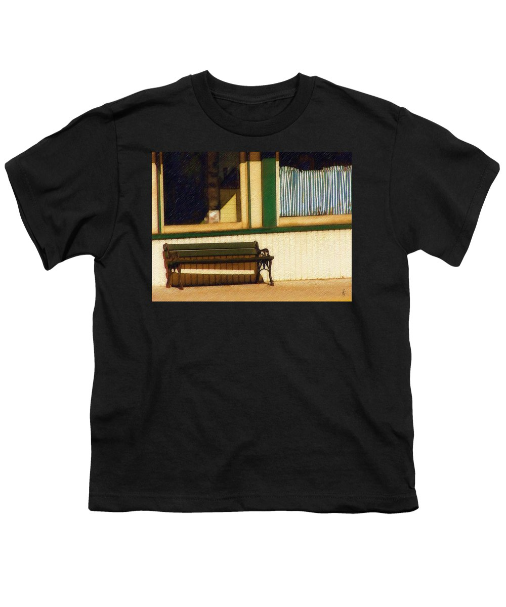 Bench Youth T-Shirt featuring the photograph Come Sit A Spell by Sandy MacGowan