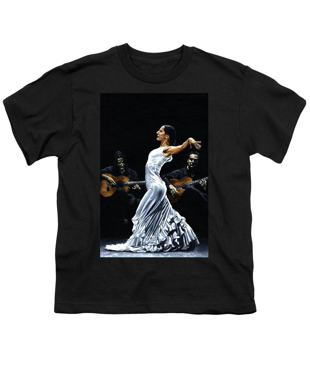 Flamenco Youth T-Shirt featuring the painting Concentracion Del Funcionamiento Del Flamenco by Richard Young