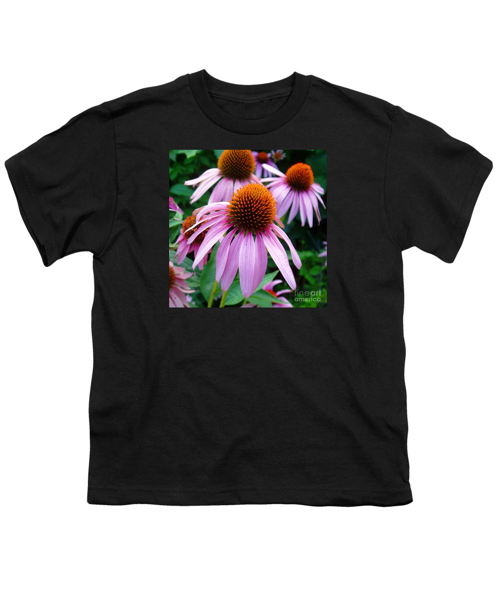 Coneflowers Youth T-Shirt featuring the photograph Three Coneflowers by Nancy Mueller
