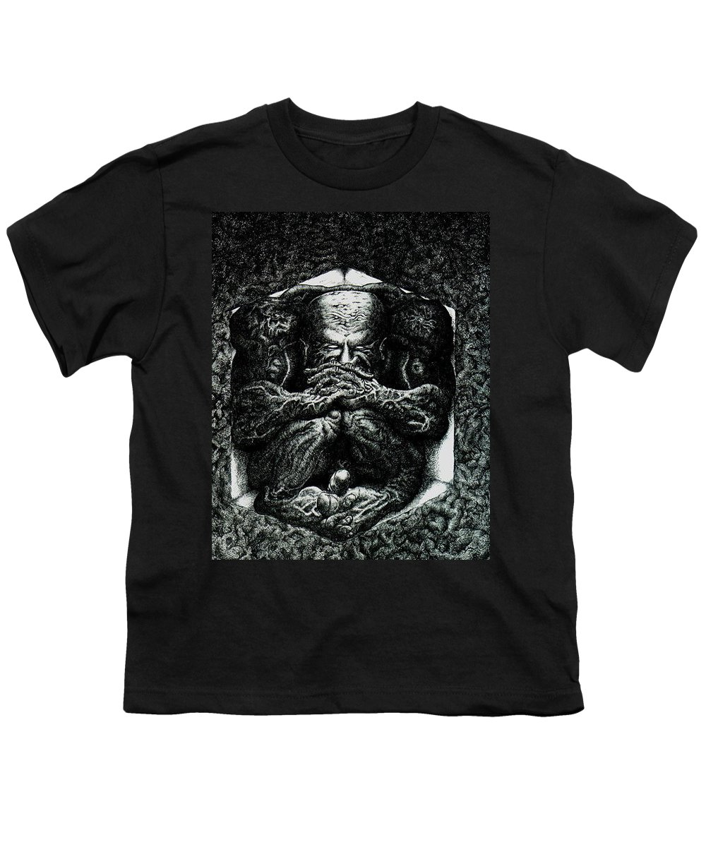 Dark Youth T-Shirt featuring the drawing Contemplation by Tobey Anderson
