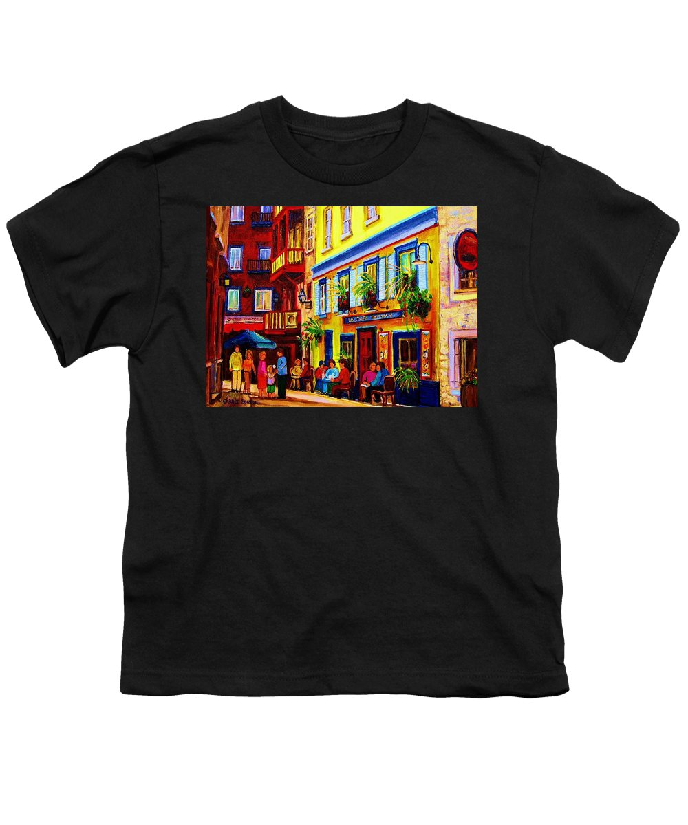 Courtyard Cafes Youth T-Shirt featuring the painting Courtyard Cafes by Carole Spandau