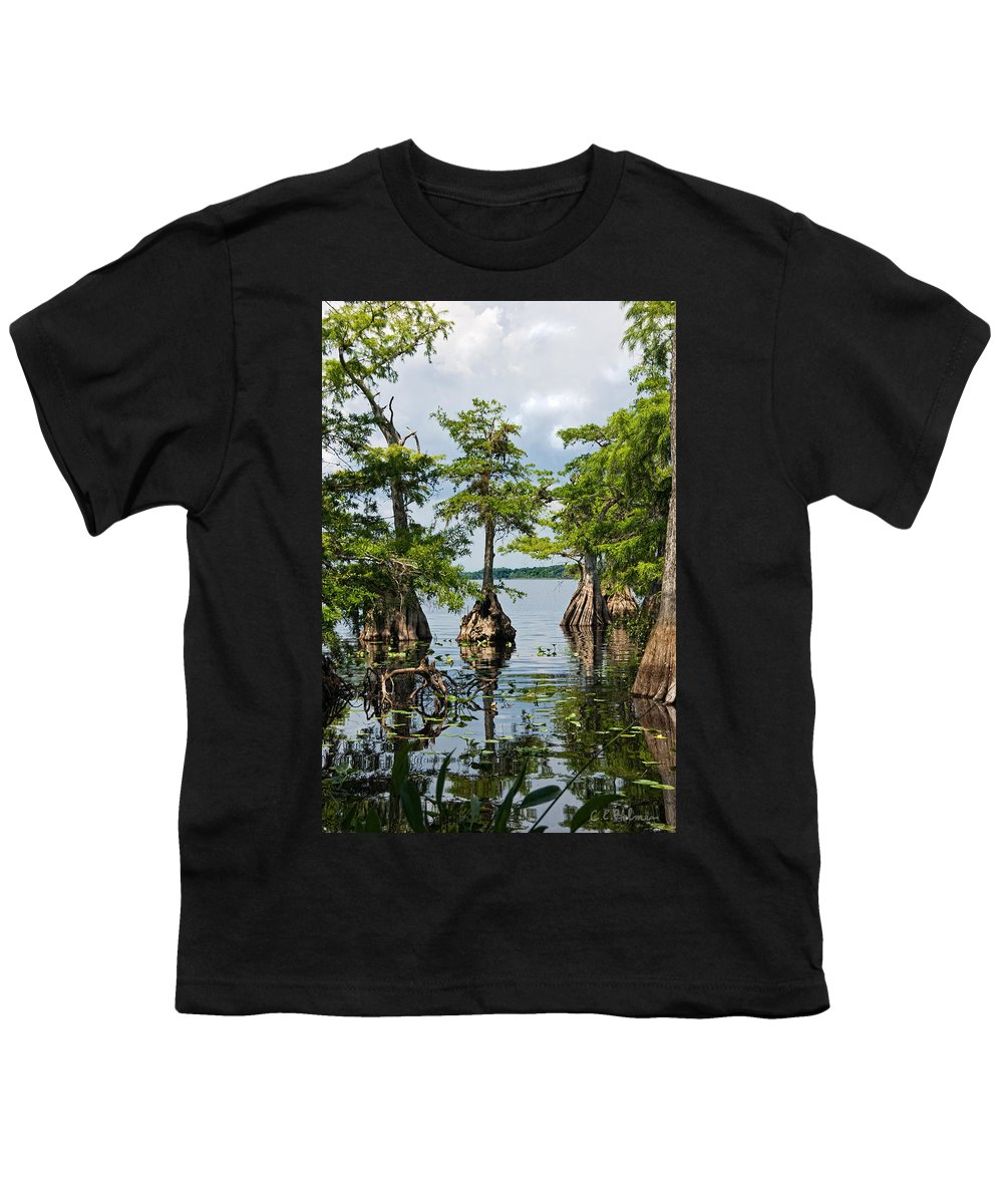 Trees Youth T-Shirt featuring the photograph Cypress Reflections by Christopher Holmes