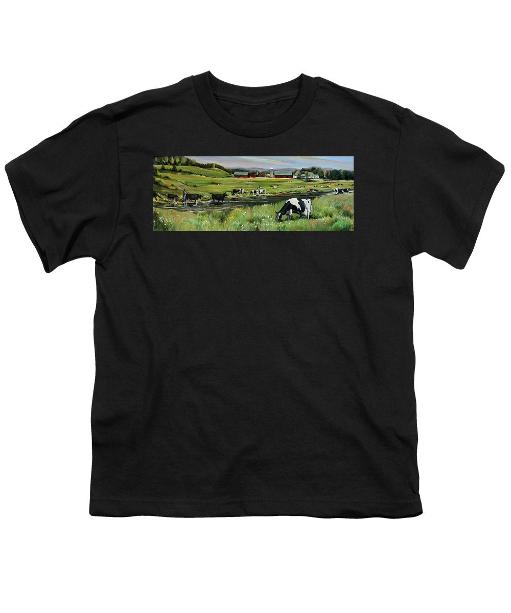 Landscape Youth T-Shirt featuring the painting Dairy Farm Dream by Nancy Griswold