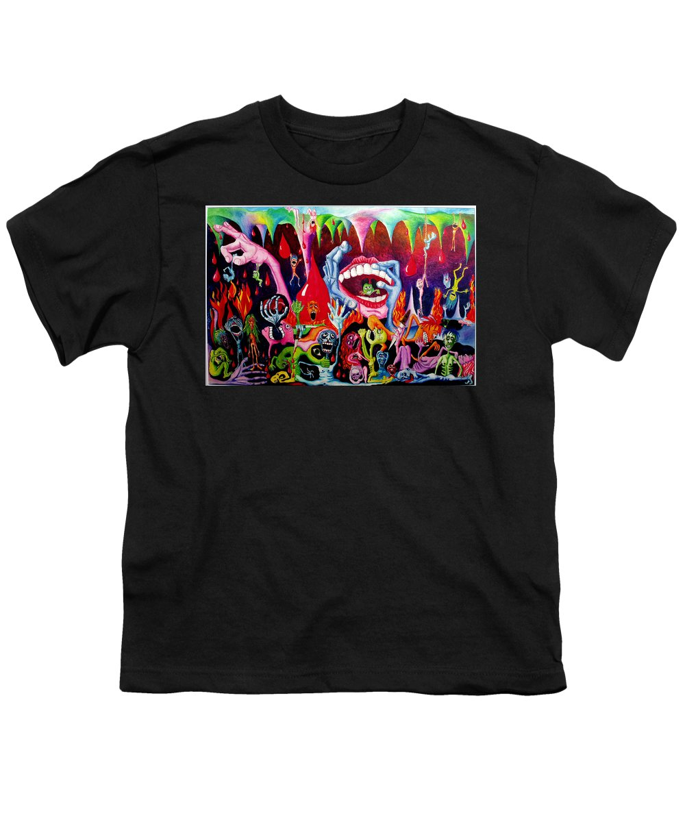 Hell Youth T-Shirt featuring the painting Damnation Of The Evil by Nancy Mueller