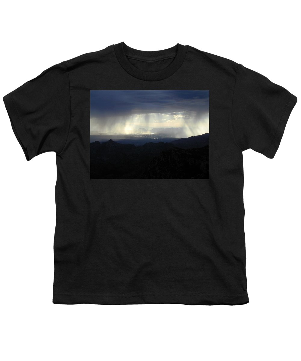 Darkness Youth T-Shirt featuring the photograph Darkness Over The City by Douglas Barnett