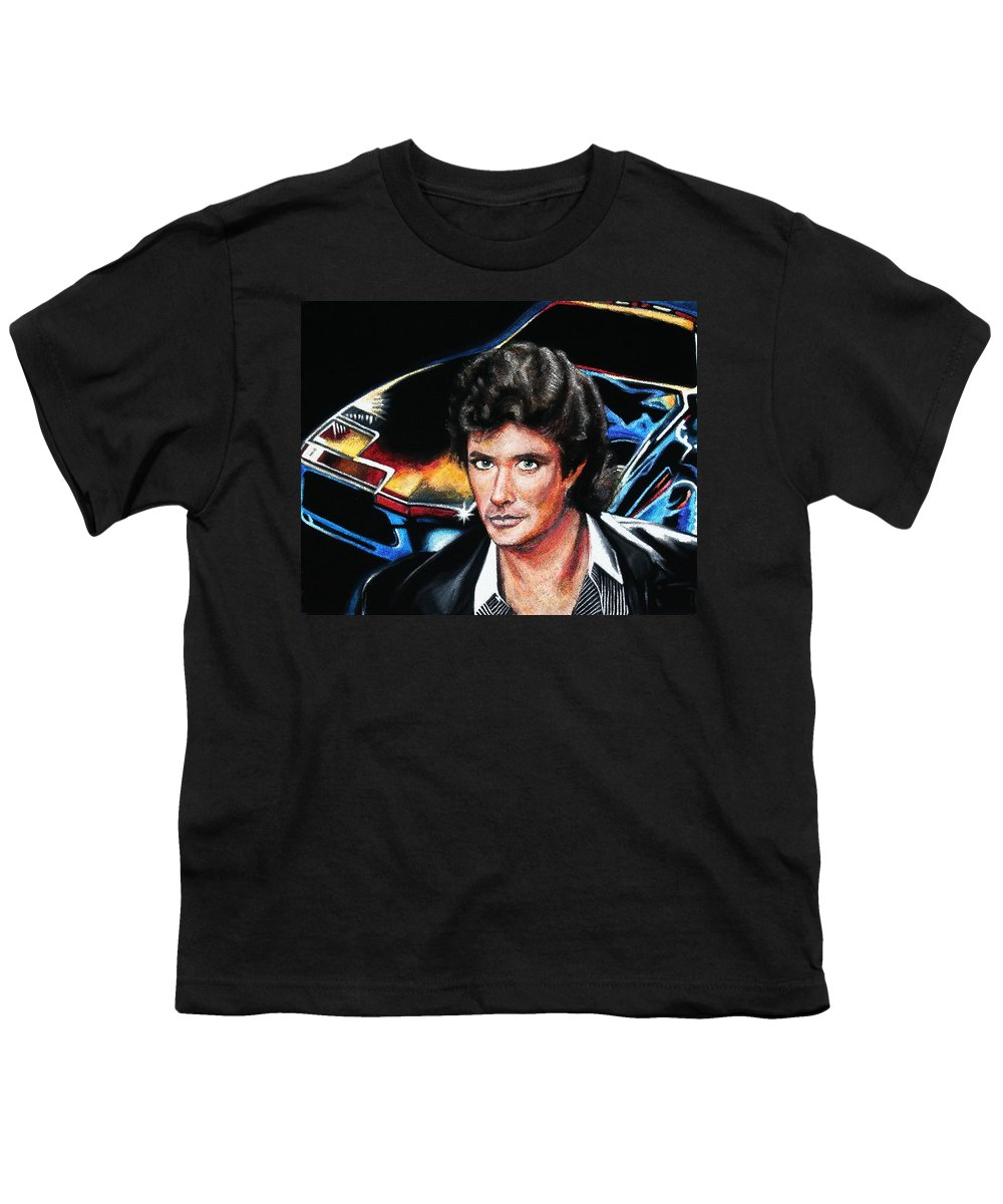 David Hasselhoff Youth T-Shirt featuring the painting David Hasselhoff by Kate Fortin