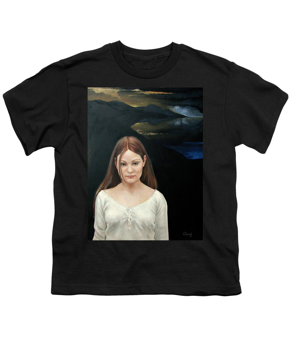 Facial Expressioin Youth T-Shirt featuring the painting Defiant Girl 2004 by Jerrold Carton