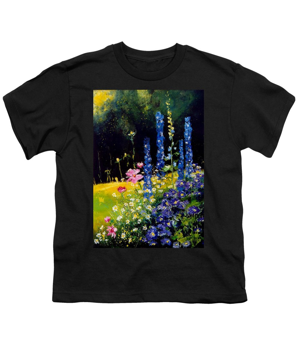 Poppies Youth T-Shirt featuring the painting Delphiniums by Pol Ledent