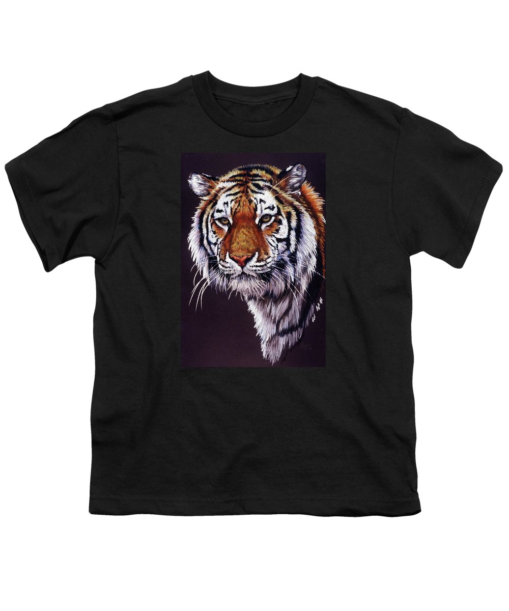 Tiger Youth T-Shirt featuring the drawing Desperado by Barbara Keith