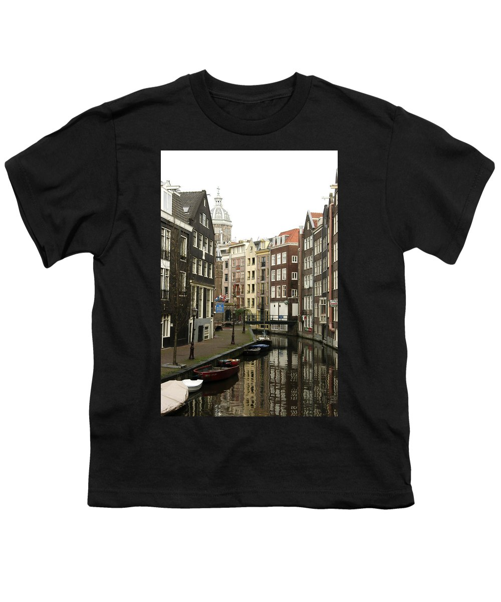 Landscape Amsterdam Red Light District Youth T-Shirt featuring the photograph Dnrh1101 by Henry Butz
